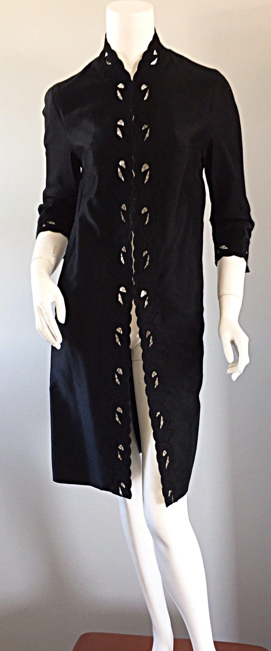 Chic 1940s Black Duster / Opera Jacket w/ Crochet Details + Scalloped Edges 2