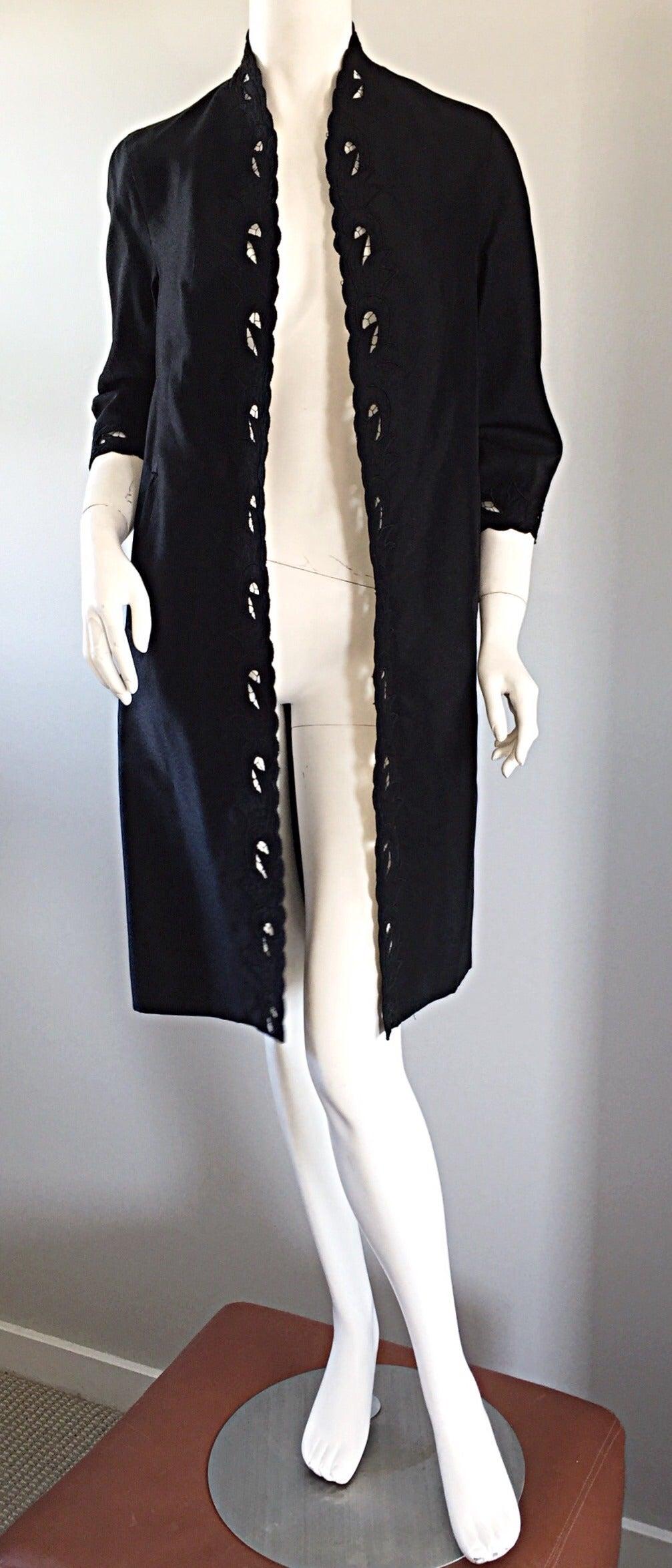 Chic 1940s Black Duster / Opera Jacket w/ Crochet Details + Scalloped Edges 4