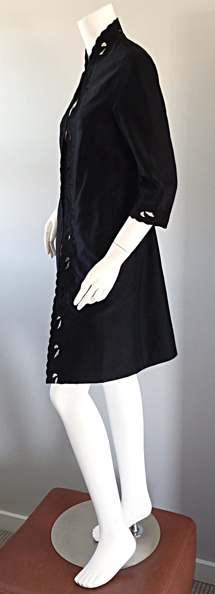 Chic 1940s Black Duster / Opera Jacket w/ Crochet Details + Scalloped Edges 8