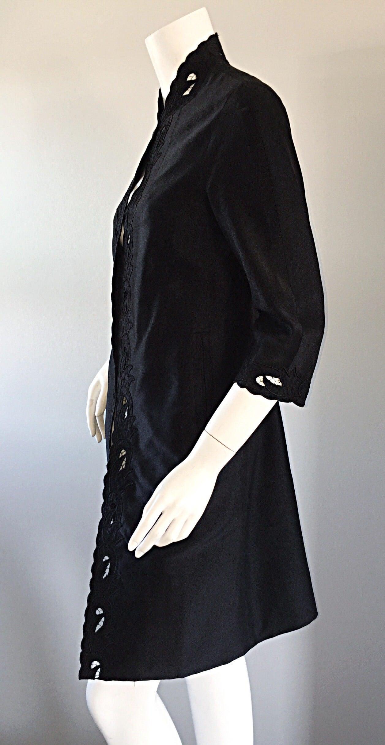 Chic 1940s Black Duster / Opera Jacket w/ Crochet Details + Scalloped Edges 5