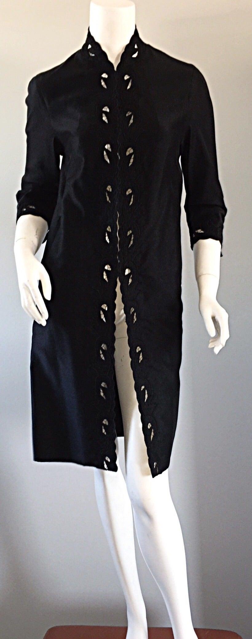Chic 1940s Black Duster / Opera Jacket w/ Crochet Details + Scalloped Edges 9