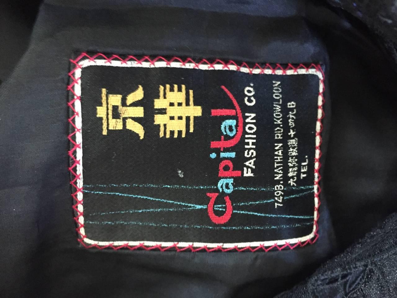 Chic 1940s Black Duster / Opera Jacket w/ Crochet Details + Scalloped Edges 10