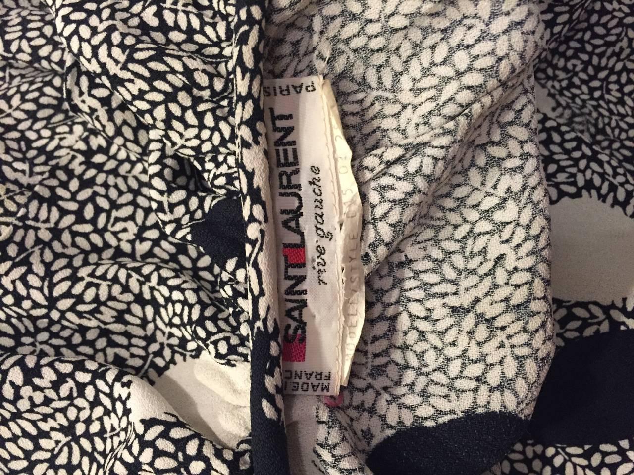 Vintage Yves Saint Laurent 1980s ' Rive Gauche ' Black + White Leaf Dress & Sash For Sale 6