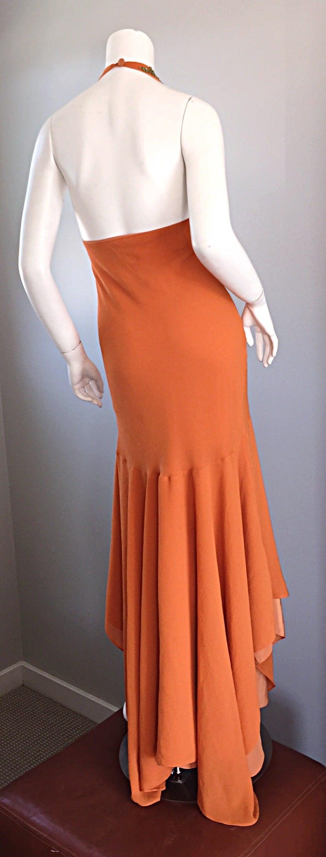 Women's Sexy 1990s Silk Crepe Orange Mermaid Gown 90s Vintage Maxi Dress Vibrant Beading For Sale