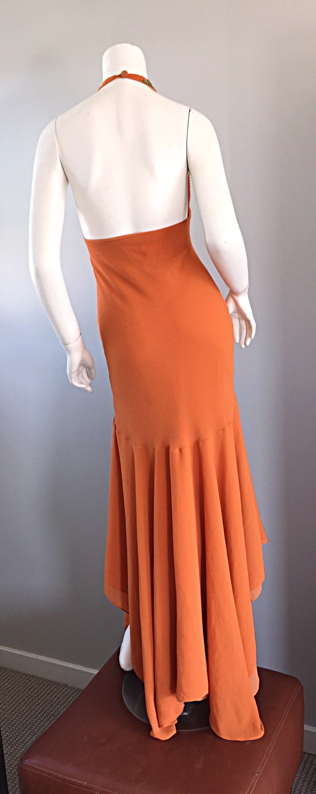Sexy 1990s Silk Crepe Orange Mermaid Gown 90s Vintage Maxi Dress Vibrant Beading For Sale 2