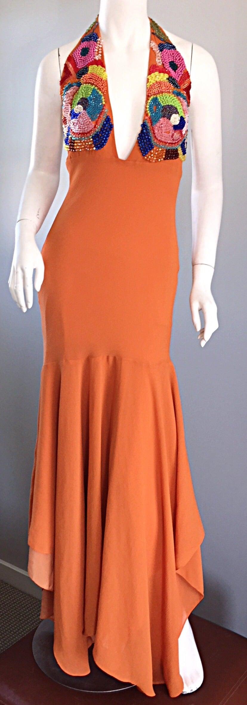 Sexy 1990s Silk Crepe Orange Mermaid Gown 90s Vintage Maxi Dress Vibrant Beading For Sale 3