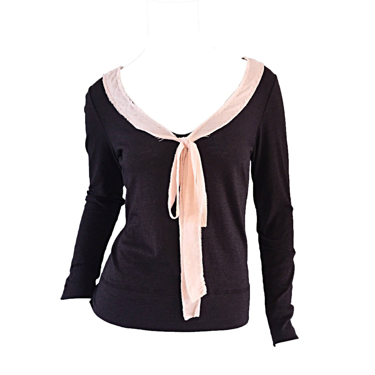 Moschino Cheap And Chic Brown + Pink Wool & Cotton Sweater Top w/  Bow