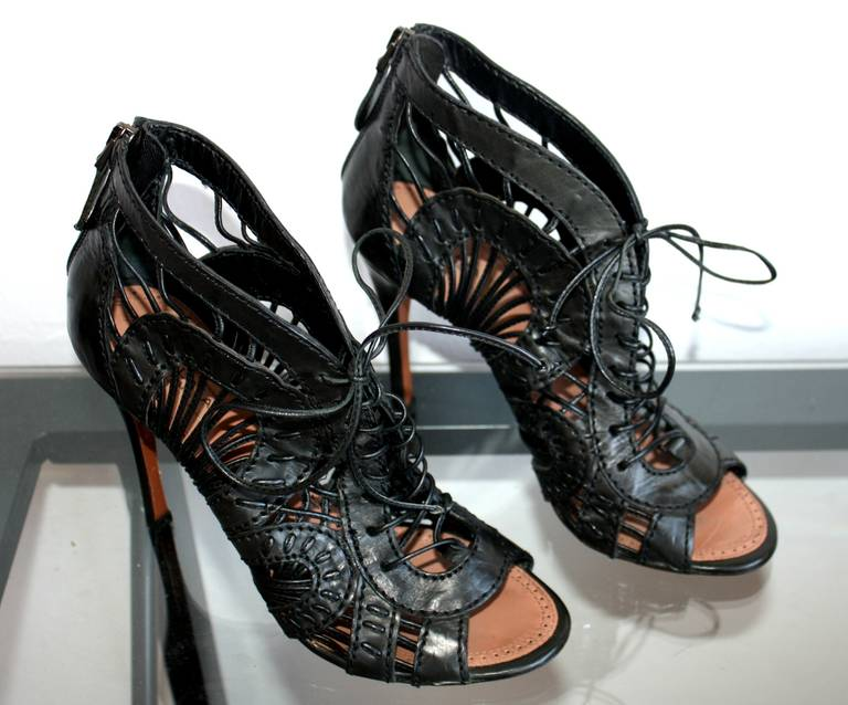 Alaia SOLD OUT Brand New Black Cut Out Gladiator Heels Seen On Red Carpet $2,700 For Sale 3