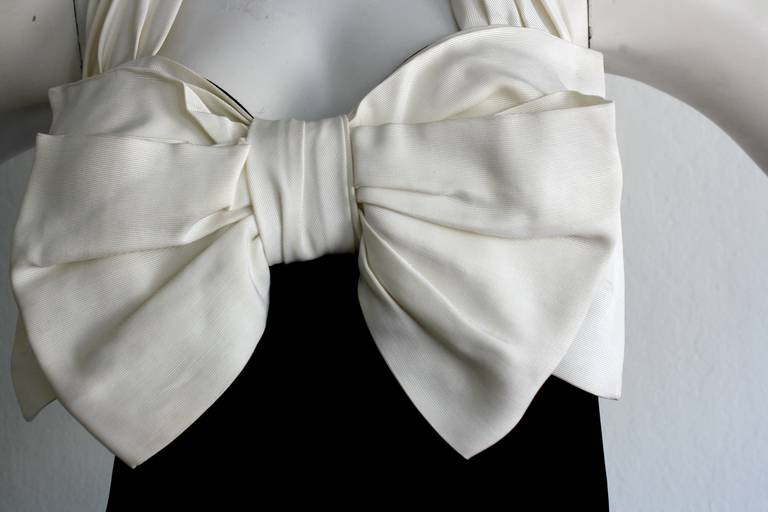 Beige Vintage Yves Saint Laurent Rive Gauche Black & White Bow Halter Top Blouse For Sale