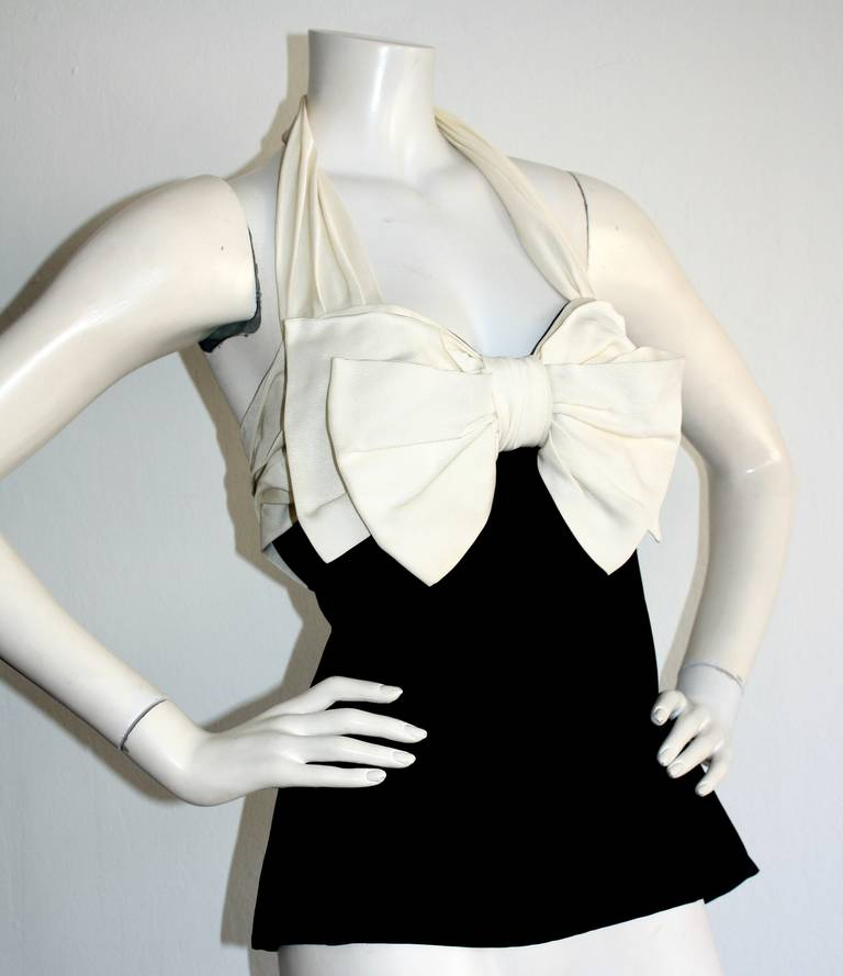 Vintage Yves Saint Laurent Rive Gauche Black & White Bow Halter Top Blouse In Excellent Condition For Sale In San Francisco, CA