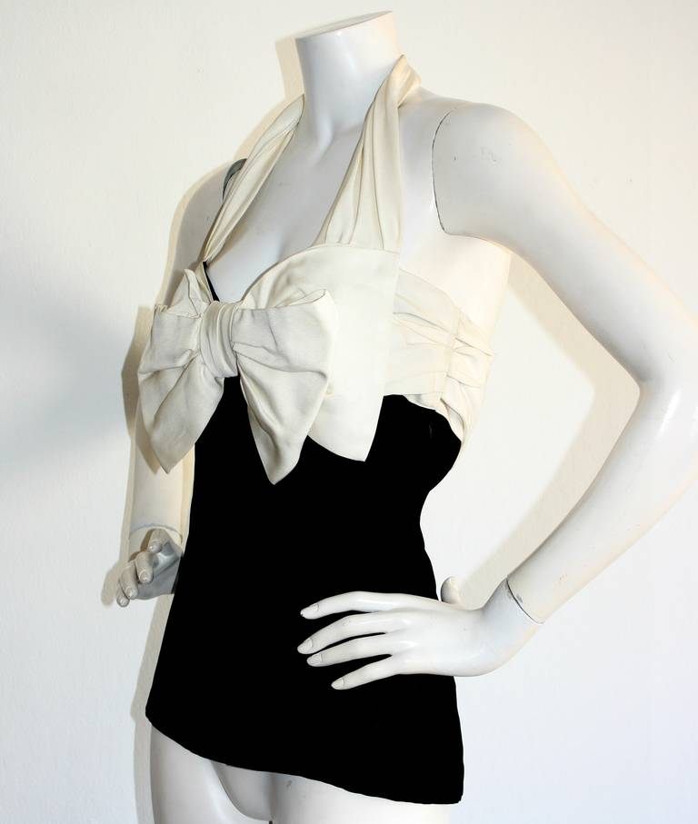 Vintage Yves Saint Laurent Rive Gauche Black & White Bow Halter Top Blouse 6