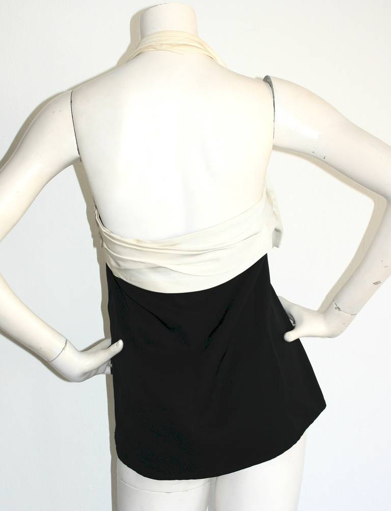 Women's Vintage Yves Saint Laurent Rive Gauche Black & White Bow Halter Top Blouse For Sale