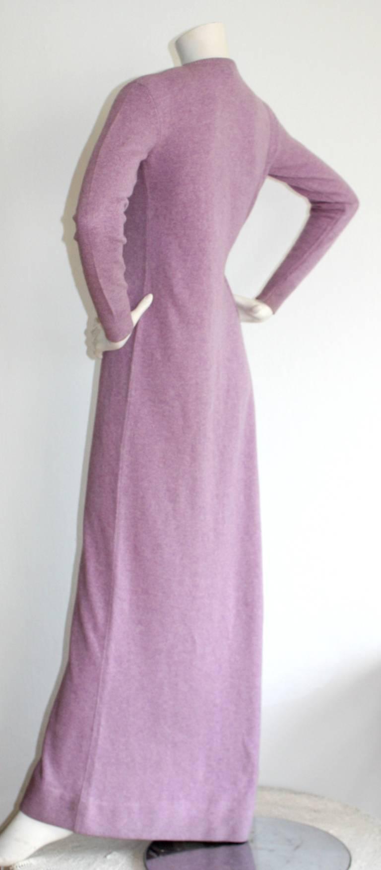 Vintage Halston Lilac Purple Cashmere Cardigan Dress At