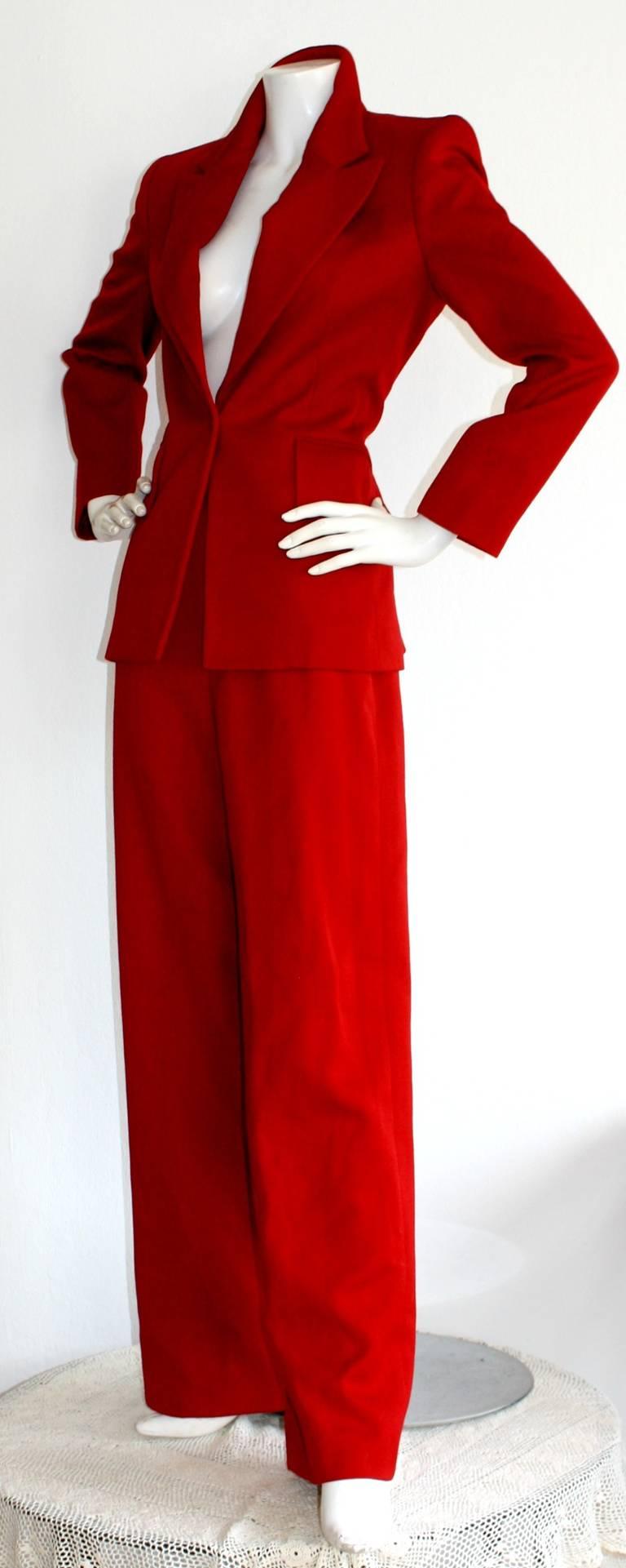 Isaac Mizrahi Vintage Lipstick Red Holiday Le Smoking Suit 4