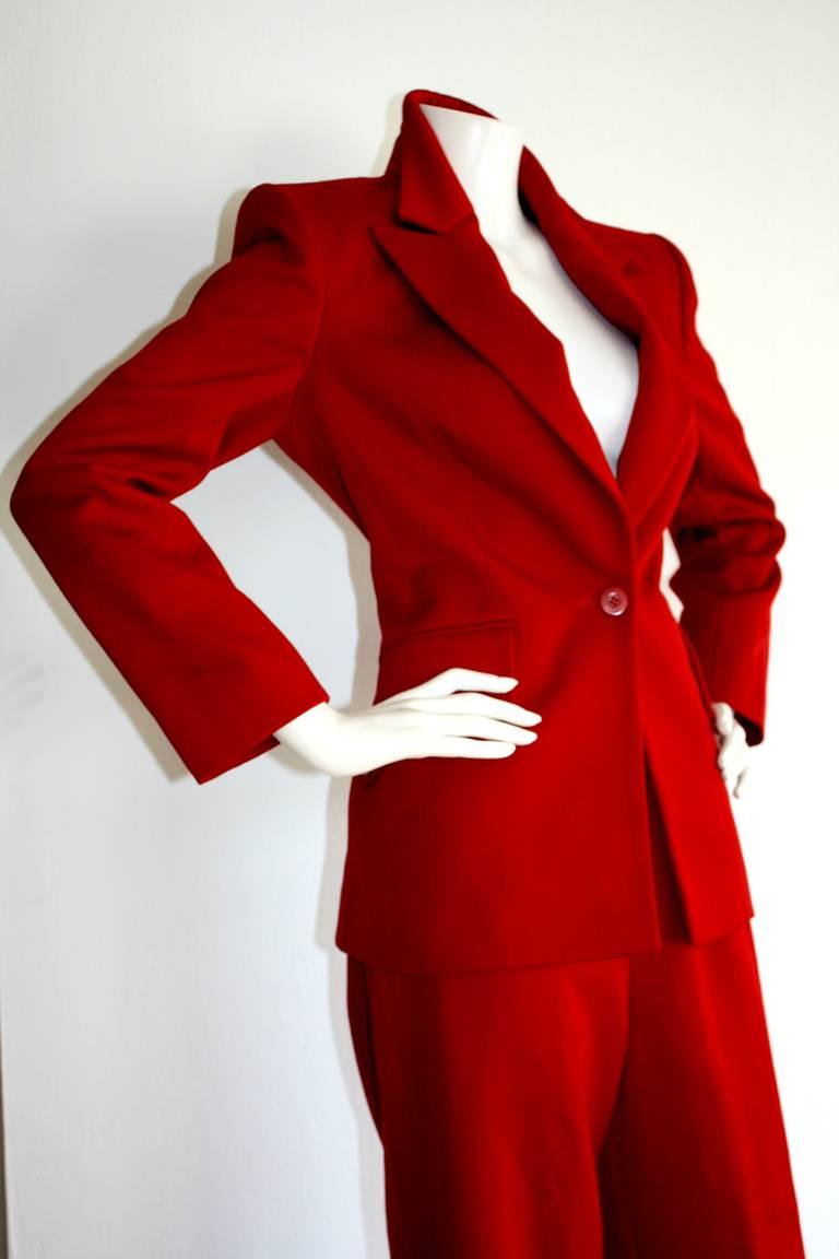 Isaac Mizrahi Vintage Lipstick Red Holiday Le Smoking Suit 5
