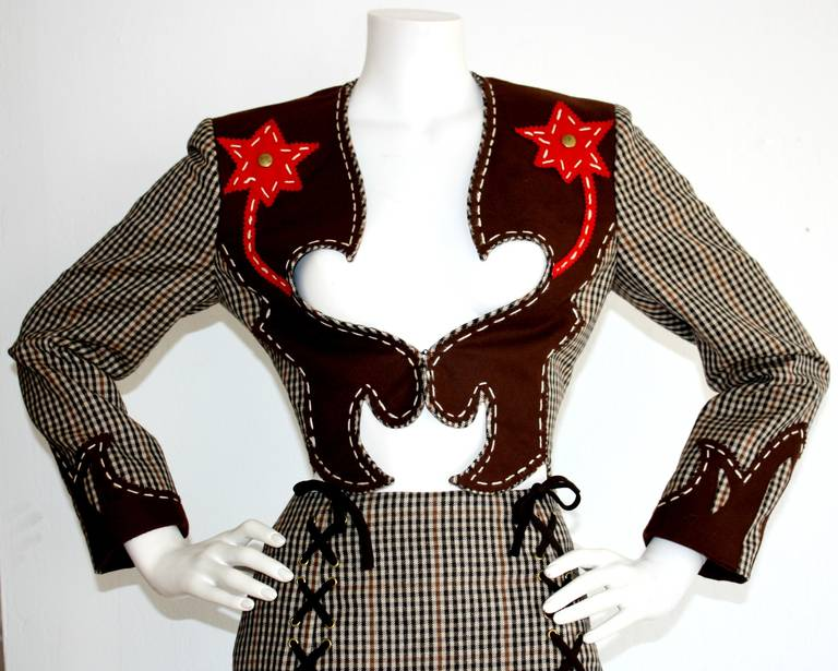 Rare Vintage Moschino Cheap & Chic Western Cowgirl Houndstooth Lace Suit 2