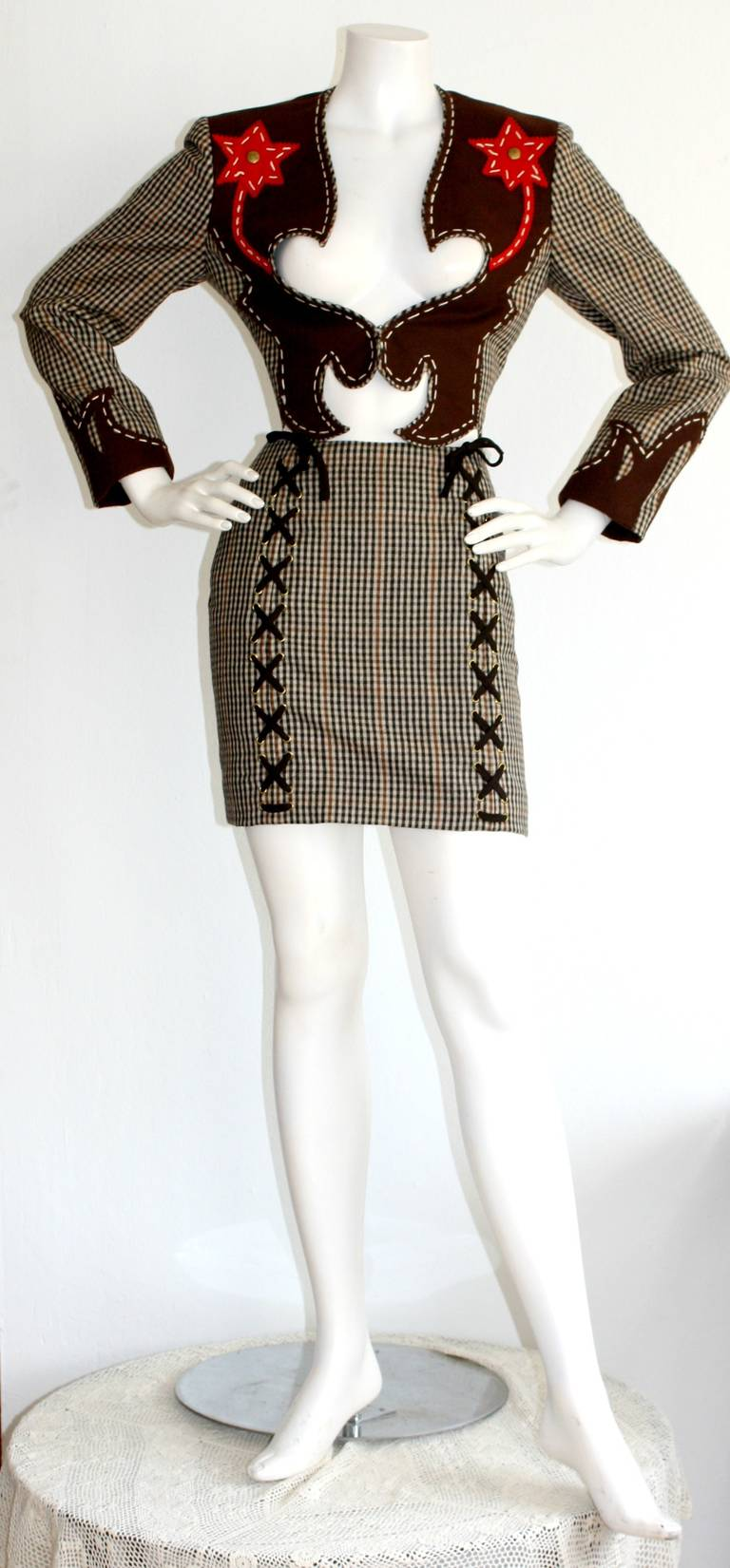 Rare Vintage Moschino Cheap & Chic Western Cowgirl Houndstooth Lace Suit 3