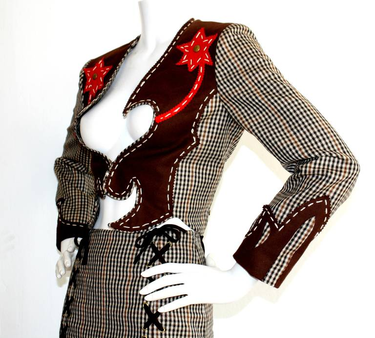 Rare Vintage Moschino Cheap & Chic Western Cowgirl Houndstooth Lace Suit 5