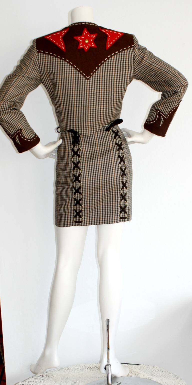 Rare Vintage Moschino Cheap & Chic Western Cowgirl Houndstooth Lace Suit 7