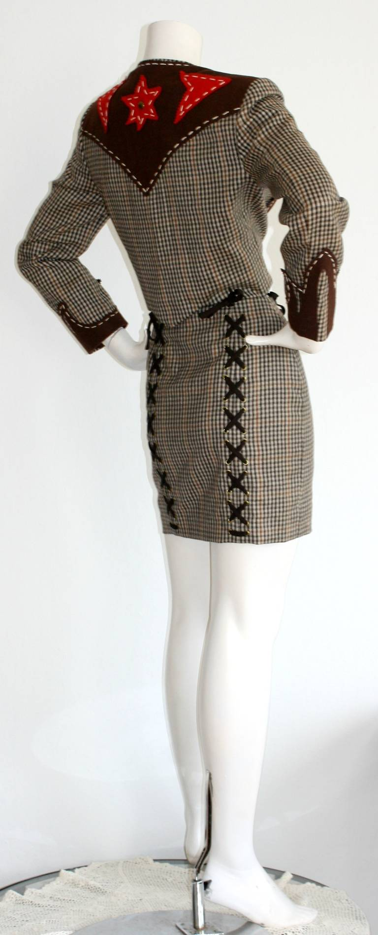 Rare Vintage Moschino Cheap & Chic Western Cowgirl Houndstooth Lace Suit 4