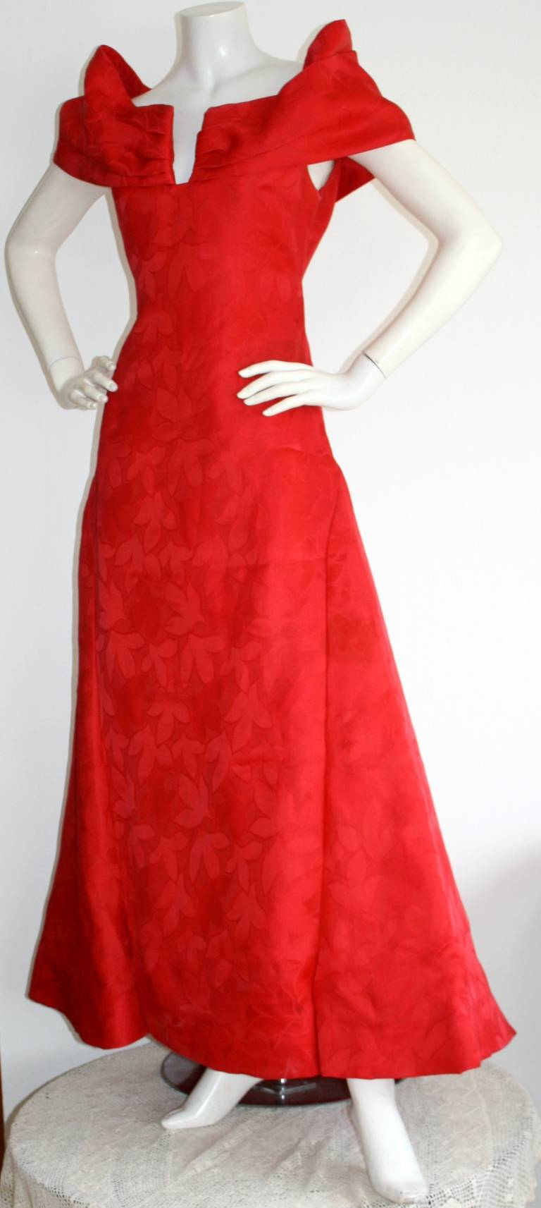 Arnold Scassi Vintage Bright Red Ball Gown 2
