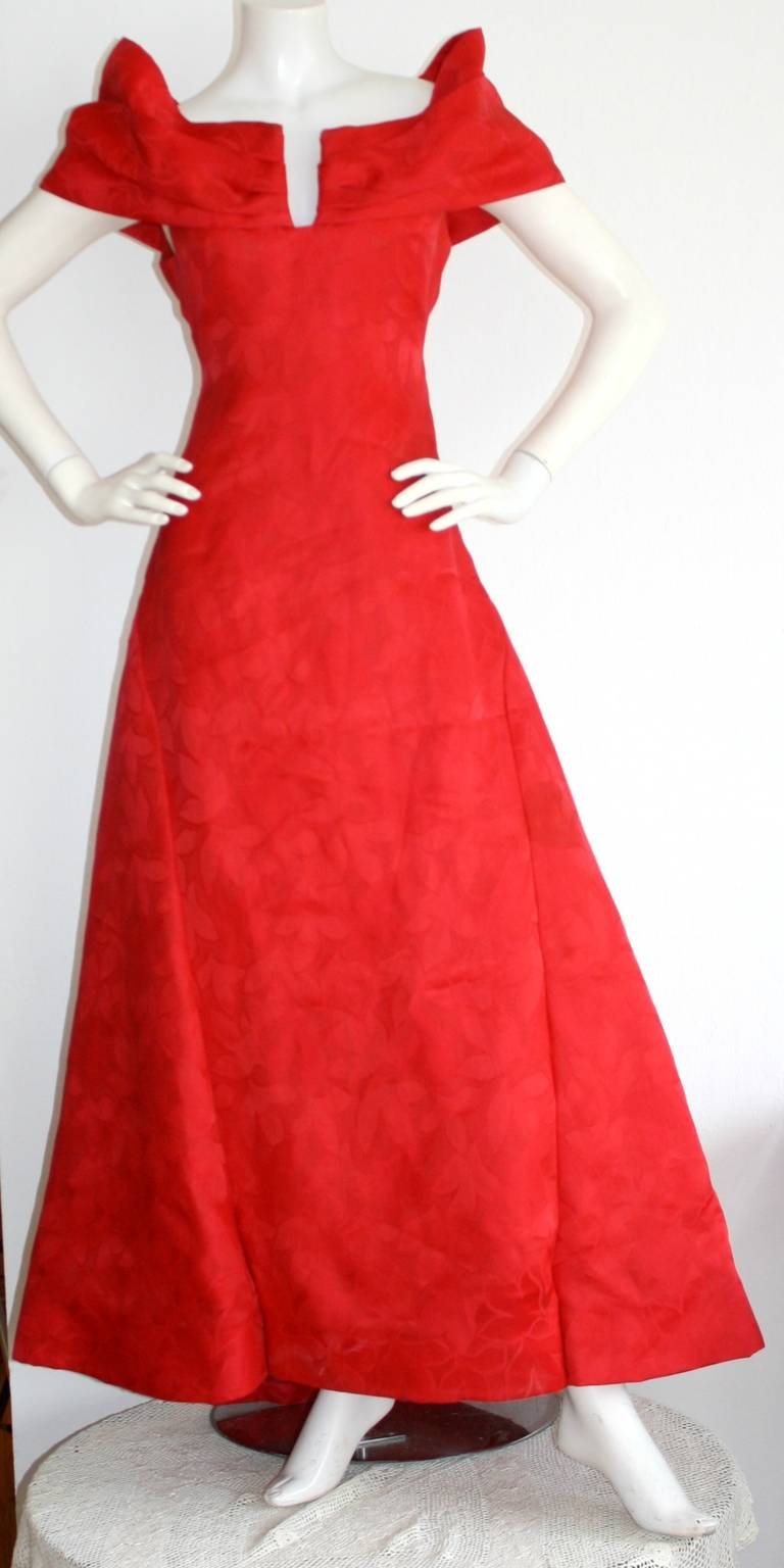 Arnold Scassi Vintage Bright Red Ball Gown 5