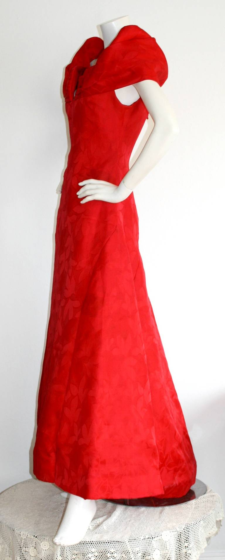 Arnold Scassi Vintage Bright Red Ball Gown 4