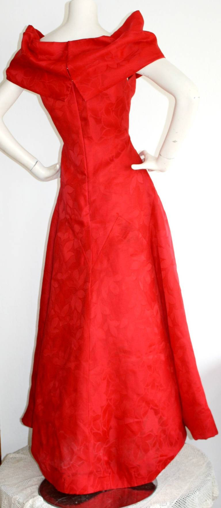 Arnold Scassi Vintage Bright Red Ball Gown 3