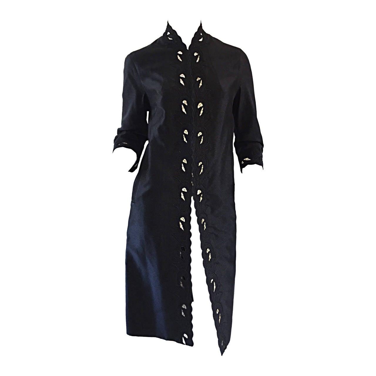 Chic 1940s Black Duster / Opera Jacket w/ Crochet Details + Scalloped Edges 1