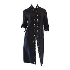 Chic 1940s Black Duster / Opera Jacket w/ Crochet Details + Scalloped Edges