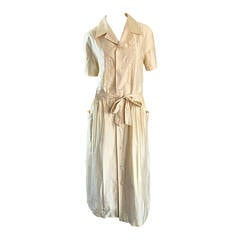 Important Early 1980s Vintage Comme des Garcons Ivory Mexican Shirt Midi Dress