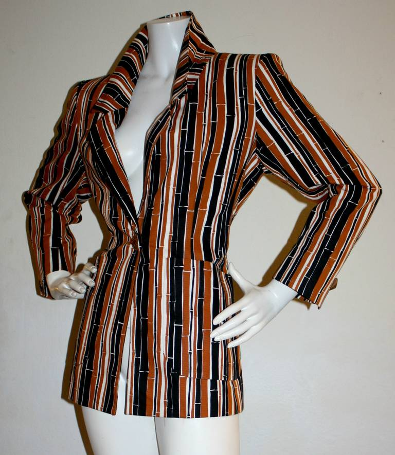 Vintage Yves Saint Laurent Rive Gauche Bamboo Blazer w/ Tribal Ethnic Buttons 4