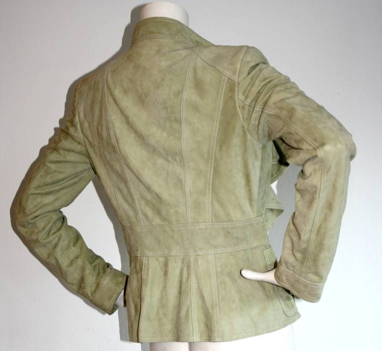 Tom Ford for Gucci Olive Khaki Suede Leather Jacket 9