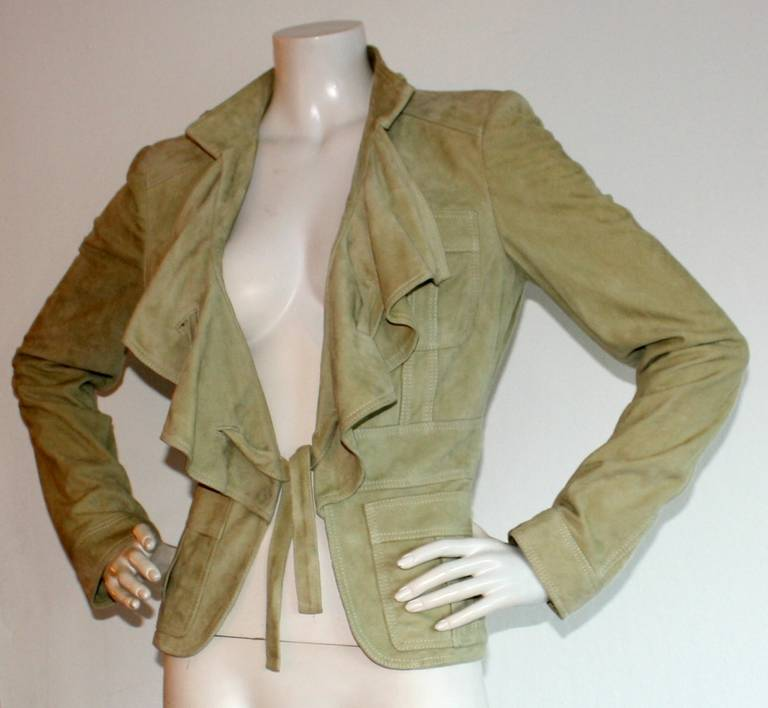 Tom Ford for Gucci Olive Khaki Suede Leather Jacket 4