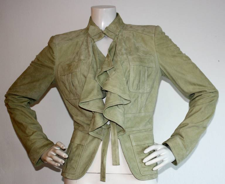 Tom Ford for Gucci Olive Khaki Suede Leather Jacket 3