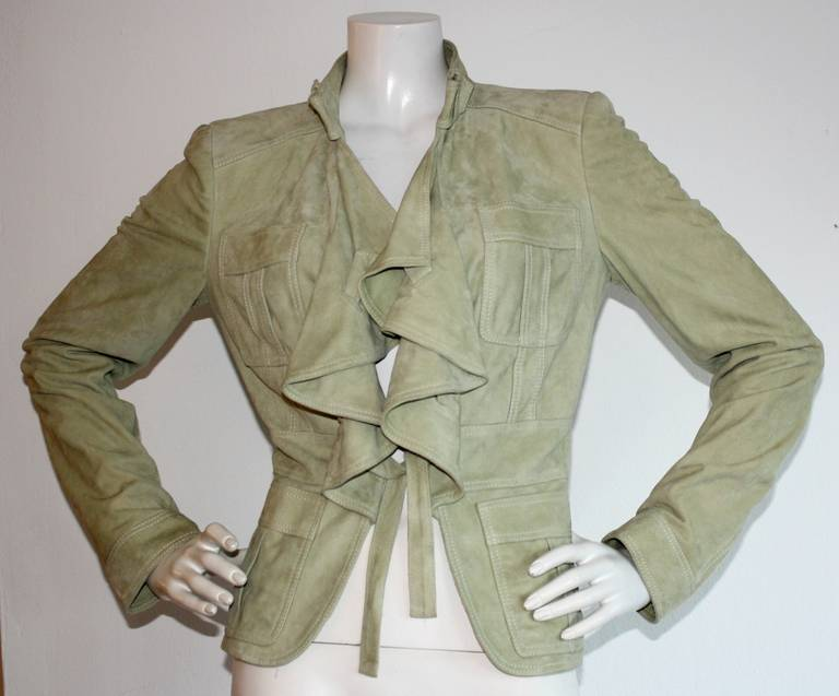 Tom Ford for Gucci Olive Khaki Suede Leather Jacket 5