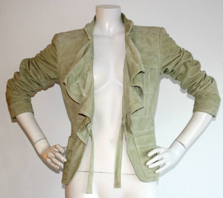 Tom Ford for Gucci Olive Khaki Suede Leather Jacket 6