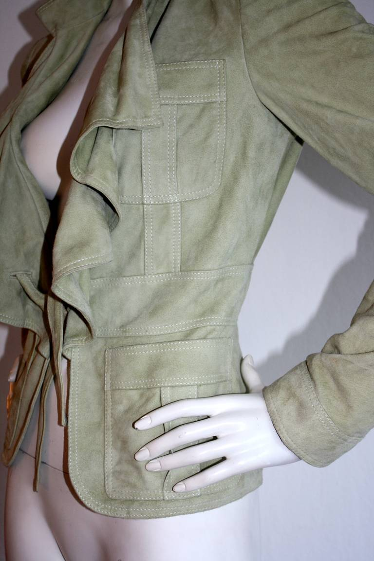Tom Ford for Gucci Olive Khaki Suede Leather Jacket 7