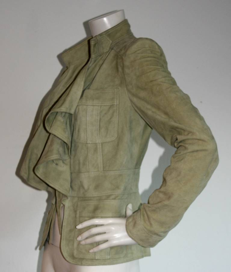 Tom Ford for Gucci Olive Khaki Suede Leather Jacket 8