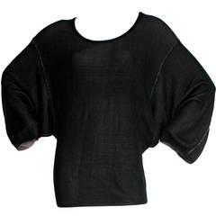 Vintage Alaia Black Mini Dress / Top Batwing Dolman Sleeves Avant Garde