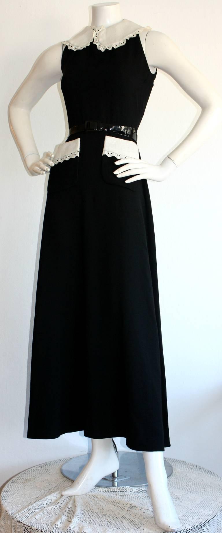 Donald Brooks Vintage Black & White Eyelet Belted Maxi Dress 2