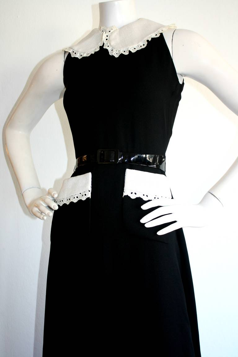 Donald Brooks Vintage Black & White Eyelet Belted Maxi Dress 3