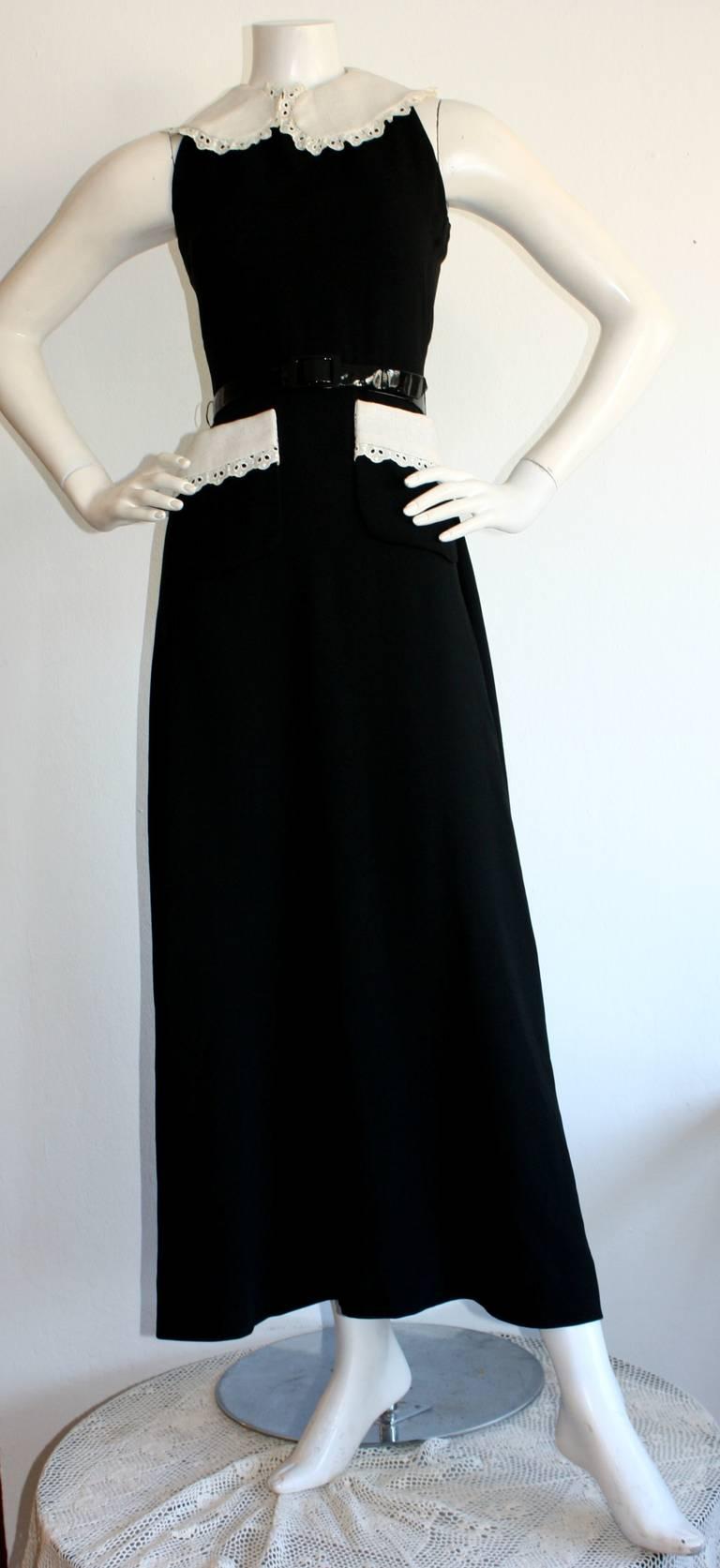 Donald Brooks Vintage Black & White Eyelet Belted Maxi Dress 5