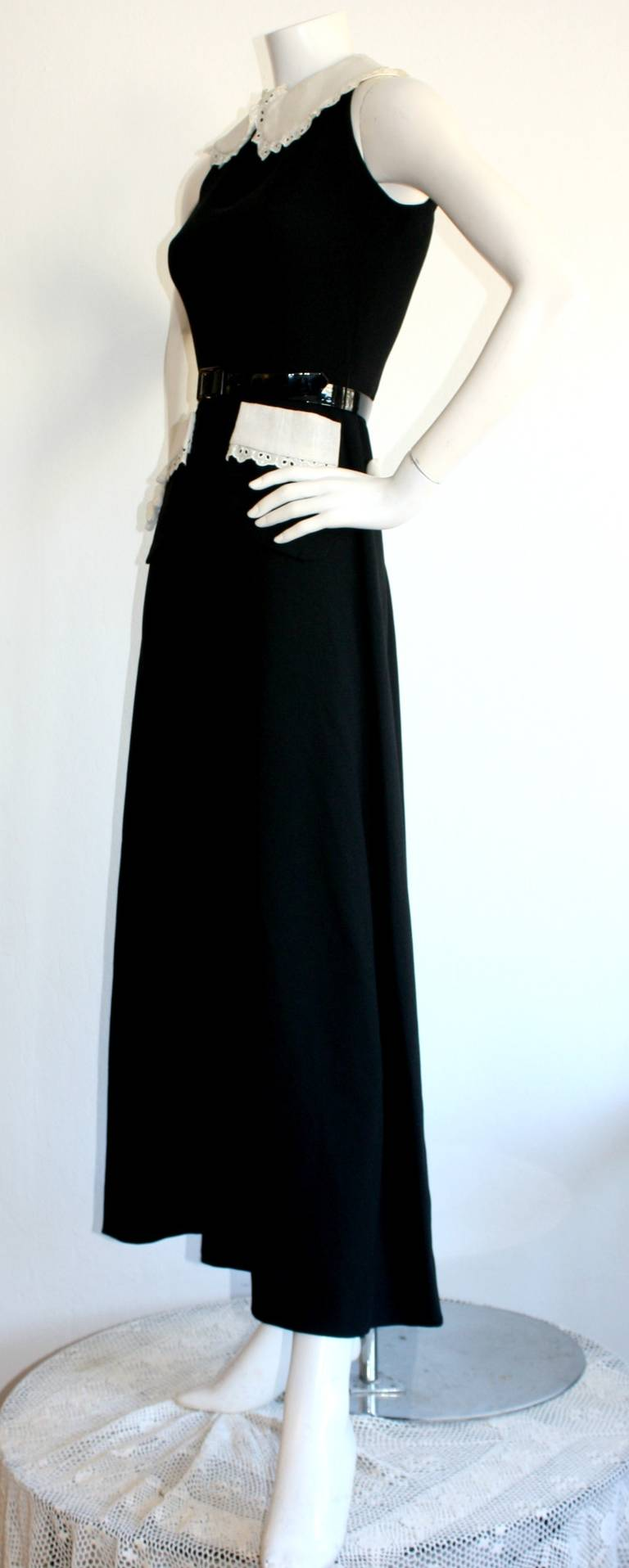 Donald Brooks Vintage Black & White Eyelet Belted Maxi Dress 6