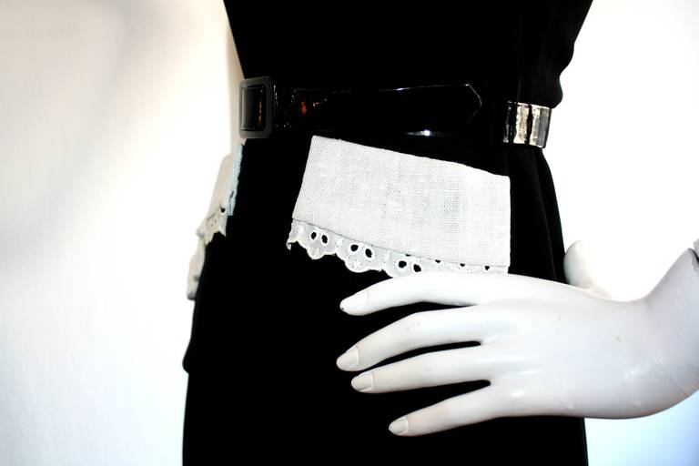 Donald Brooks Vintage Black & White Eyelet Belted Maxi Dress 7