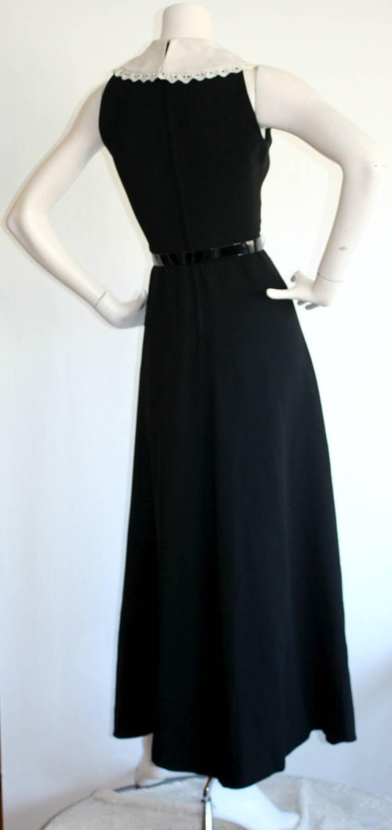 Donald Brooks Vintage Black & White Eyelet Belted Maxi Dress 4