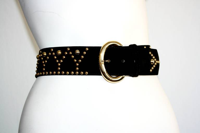 Women's Vintage Saint Laurent YSL Black Studded