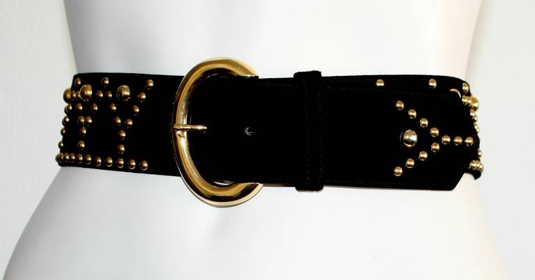 Chic vintage YSL belt in black suede leather with gold studs shaped in signature Y's. In great condition. Brand New, never worn. Pictured vintage YSL Russian blouse is up in my 1stDibs store!   Marked Size Large
