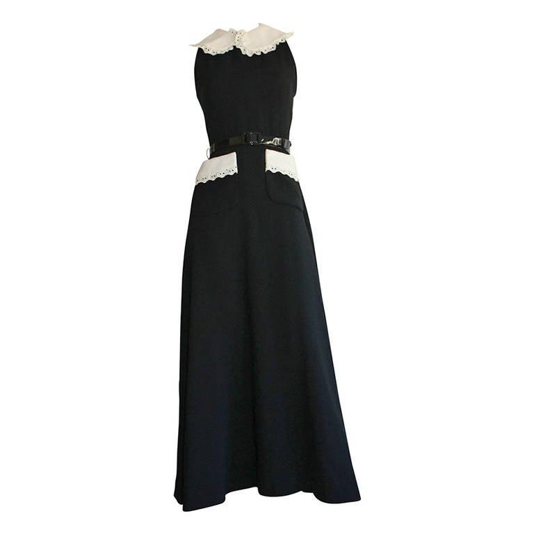 Donald Brooks Vintage Black & White Eyelet Belted Maxi Dress 1