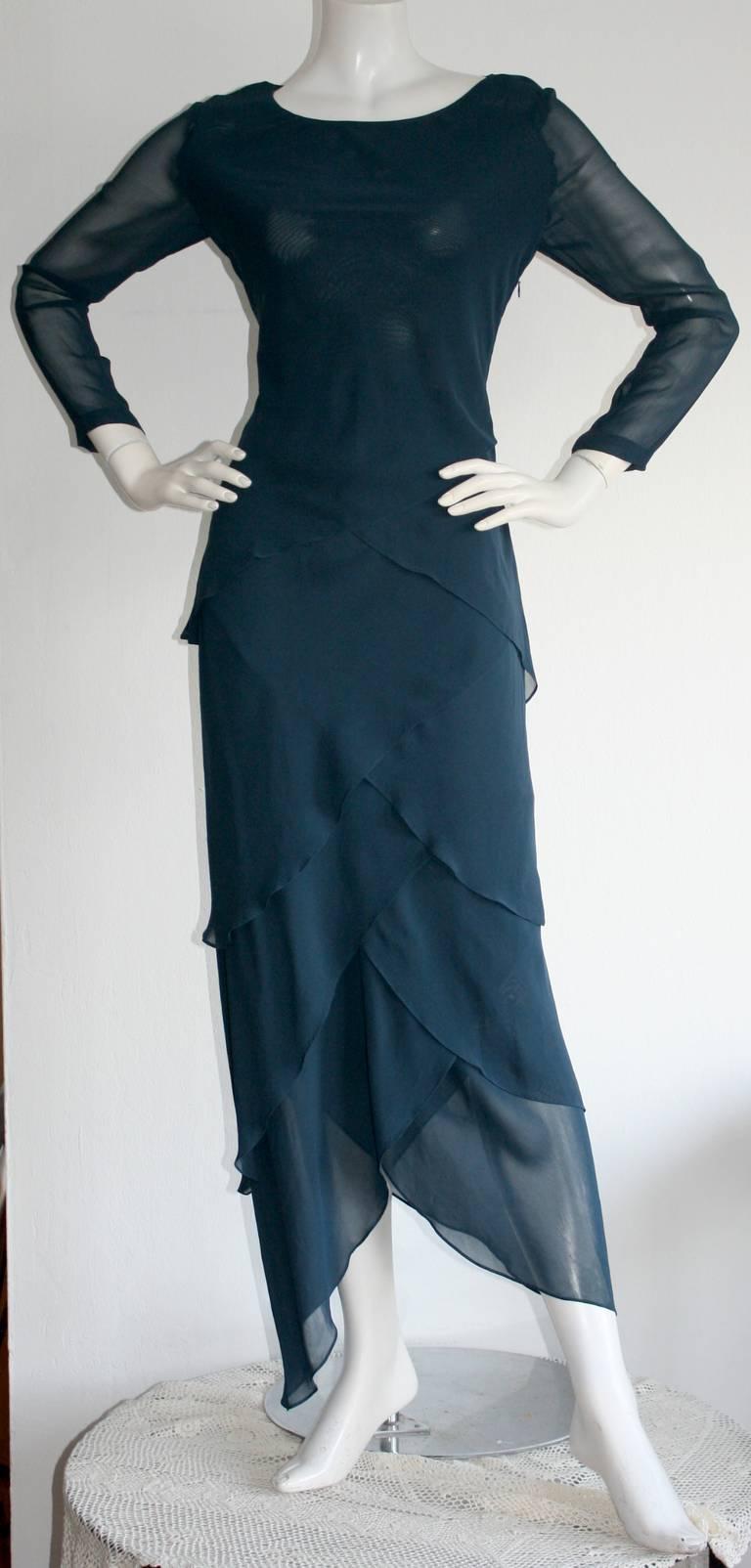 Vintage Alberta Ferretti Navy Blue Silk Tiered Column Gown 2